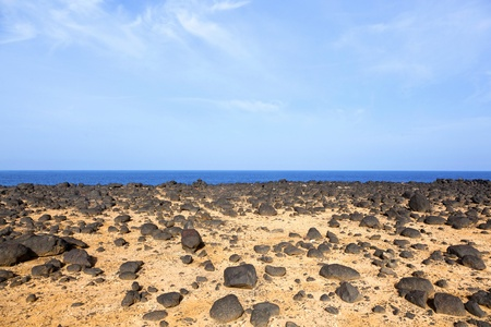 rugged terrain: dry area with old lava stones in wilderness at the coastline in Lanzarote Stock Photo