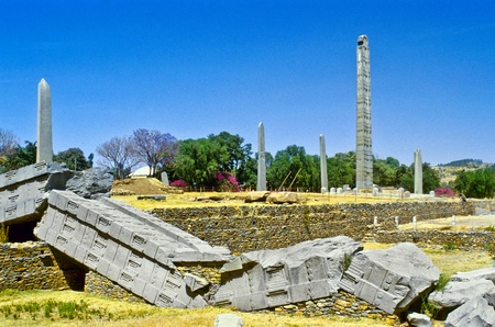 chiseled: Stele in the northern field at Axum in Ethiopia