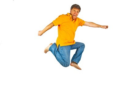 Portrait Of man jumping In The Air photo