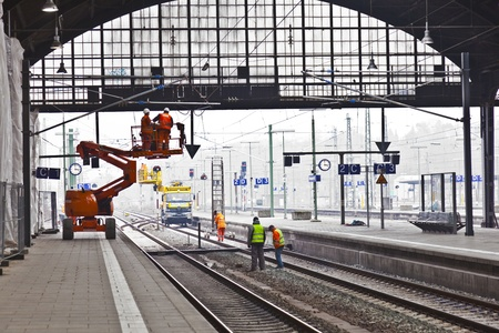 WIESBADEN, GERMANY. worker repair the catenary on February 2,2011 in Wiesbaden, Germany. The equipment is rented by Boehls, the leading rental company in Europe.