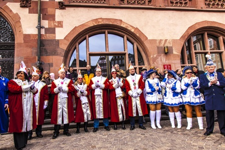 fasnet: FRANKFURT, GERMANY - MARCH 5: The Carnival  Parade moves through the city on March 5, 2011 in Frankfurt, Germany. They  conquest the town hall and get the key for one day from the mayor. Editorial