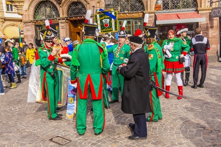 FRANKFURT, GERMANY - MARCH 5: The Carnival  Parade moves through the city on March 5, 2011 in Frankfurt, Germany. They  conquest the town hall and get the key for one day from the mayor. Stock Photo - 12591995