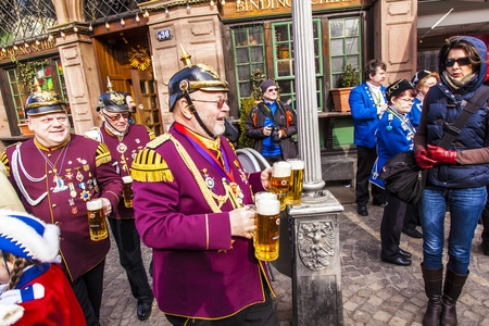 FRANKFURT, GERMANY - MARCH 5: The Carnival  Parade moves through the city on March 5, 2011 in Frankfurt, Germany. They  conquest the town hall and get the key for one day from the mayor. Stock Photo - 12591988
