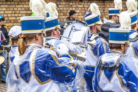 SCHWALBACH, GERMANY - FEBRUARY 27: The carnival  brass band  moves through the city on February 27, 2011 in Schwalbach, Germany. The Brass Band Rheinmain takes part as hosts at this annual event. Stock Photo - 12641064