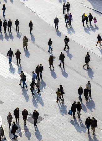 paveway: FRANKFURT - GERMANY, MARCH 03: people walk along the Zeil in Midday on March 03,2011 in Frankfurt, Germany. Since the  19th century it is of the most famous and busiest shopping streets in Germany