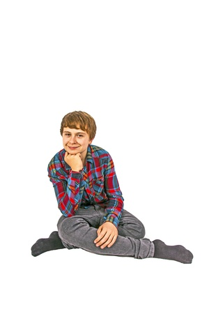 cute boy sitting on the floor Stock Photo - 12858901
