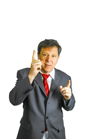 speach: business man holding a speach Stock Photo