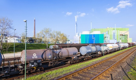 FRANKFURT - GERMANY, OCTOBER 17: wagons for transportation of chemicals inside the Industry Park on October 17,2011 in Frankfurt, Germany.  Cars,trains and ships are available for transport inside the park.