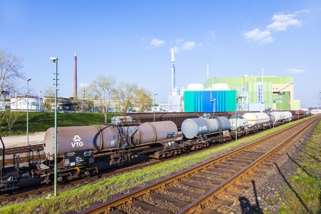 FRANKFURT - GERMANY, OCTOBER 17: wagons for transportation of chemicals inside the Industry Park on October 17,2011 in Frankfurt, Germany.  Cars,trains and ships are available for transport inside the park. Stock Photo - 12778415