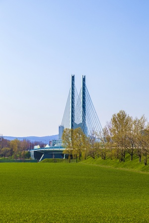 bridge in Industry Park in beautiful landscape near Frankfurt photo