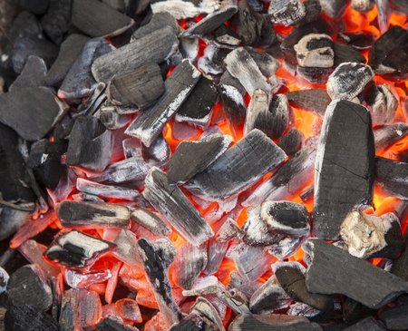 charcoal background with red fire Stock Photo - 12860083