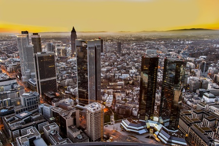 am: aerial of Frankfurt am Main in the evening