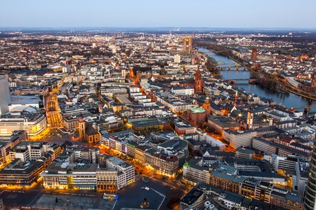 aerial of Frankfurt am Main in the evening