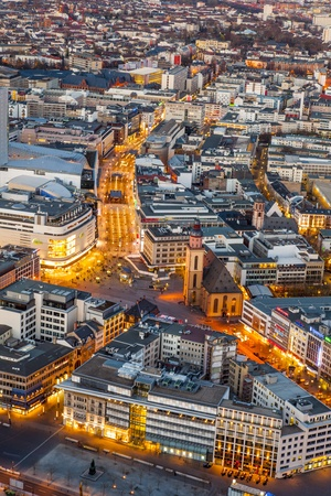 FRANKFURT - GERMANY March 25: aerial in the evening with river Main on March 25,2012 in Frankfurt,  Germany. The Main metropolis was first mentioned 794 in a document of Charlemagne for the Regensburg monastery, St. Emmeram.