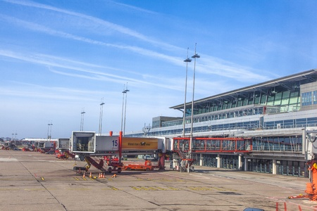 HAMBURG, GERMANY - MARCH 26: Aircraft at the gate in Terminal 2 on March 26,2011 in Hamburg, Germany. Terminal 2 was completed in 1993 and houses Lufthansa and other Star Alliance partners.