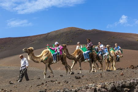 TIMANFAYA NATIONAL PARK, LANZAROTE, SPAIN - APRIL 5: Tourists ride on camels being guided by local people through the famous Timanfaya National Park in April 05,2012. Stock Photo - 13162148