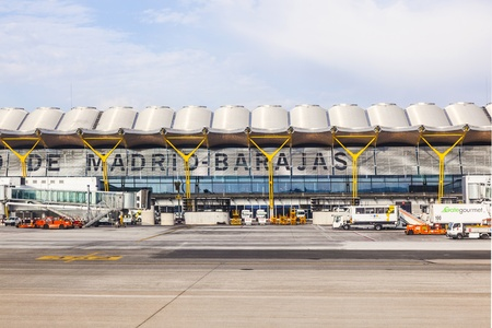 MADRID, SPAIN - APRIL 1: Aircrafts park at Terminal 4 at Barajay Airport  on April, 1 2012 in Madrid, Spain. In 2010, over 49.8 million passengers used Madrid-Barajas, making it the countrys largest airport. Stock Photo - 13256686