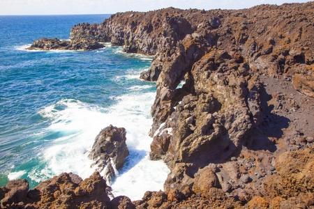 a view of Los Hervideros del Agua in Lanzarote, Canary Islands, Spain Stock Photo - 13370266