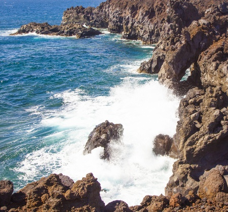 a view of Los Hervideros del Agua in Lanzarote, Canary Islands, Spain Stock Photo - 13369818