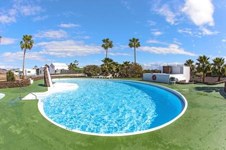 empty outdoor pool in Spain photo