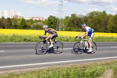 Schwalbach, DEUTSCHLAND - 1. Mai: mehr als 4500 Sportler fand am 51. Radrennen Rund um den Finanzplatz Eschborn-Frankfurt am Mai 1,2012 in Schwalbach, Deutschland. Der Gewinner 2012 ist Moreno Moser. Standard-Bild - 13512005