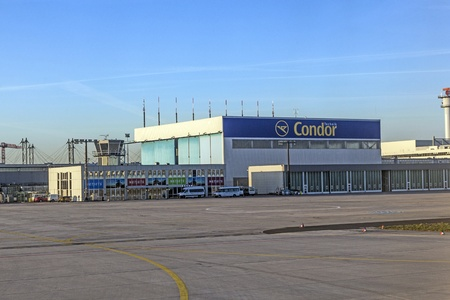 FRANKFURT, GERMANY - APRIL 1: condor wharft at Rhein Main airport early morning on APRIL 1, 2012. It is one of the busiest airports in Europe with 59 million passengers in 2011.