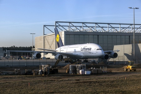 FRANKFURT, GERMANY - APRIL 1: Lufthansa A380 at Lufthansa Technik wharft at Rhein Main airport on APRIL 1, 2012. The warft was enlarged in 2008 to offer maintenance service for A380.