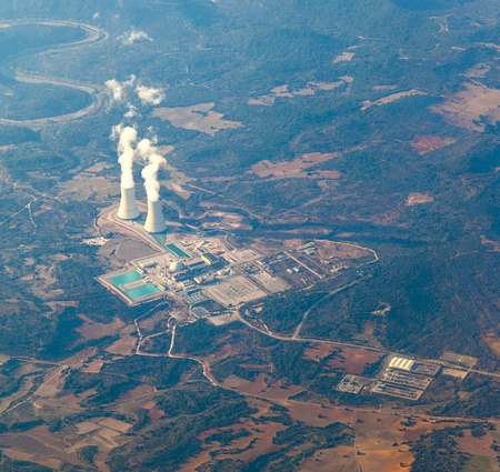 aerial of power plant near Madrid photo