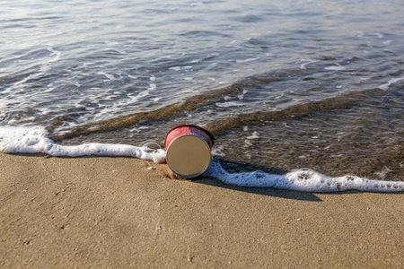 litter at the beach photo