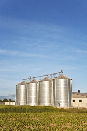 silos in beautiful landscape and acres photo