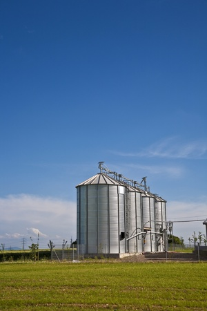 beautiful silver silos in landscape photo
