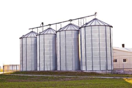 silver silos in the field Stock Photo - 13567589