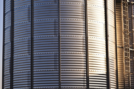 iowa agriculture: silver silos in the field Stock Photo
