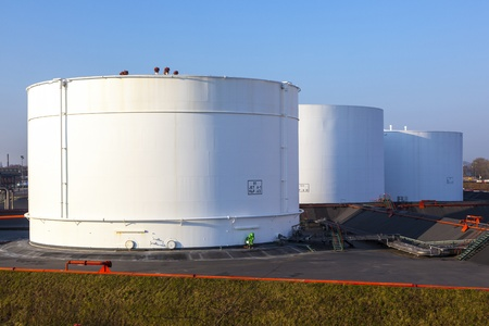 white tank in tank farm with blue sky Stock Photo - 13567396