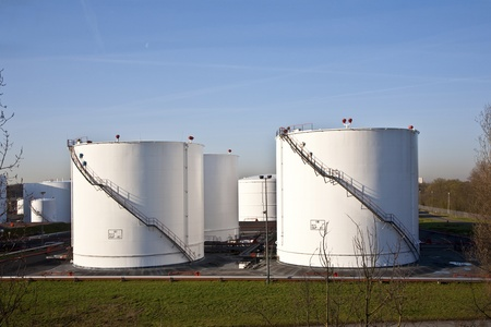 white tanks in tank farm with blue clear sky Stock Photo - 13567077