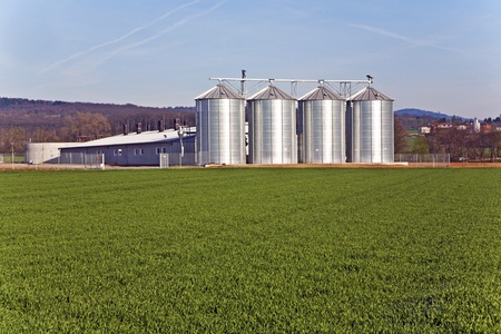 silo and acre in beautiful light with clear sky photo