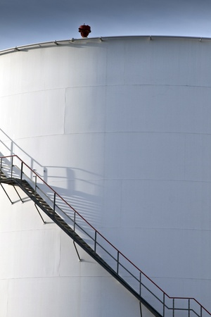 industrial stair at white tank in tank farm Stock Photo - 13566693