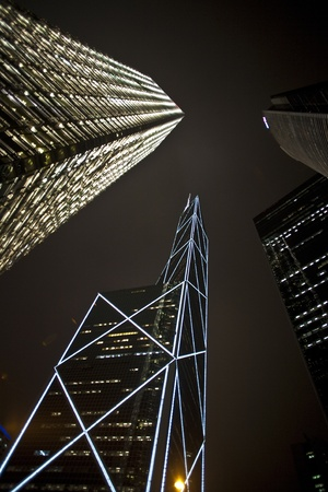 facade of skyscrapers downtown  by night Stock Photo - 13567241