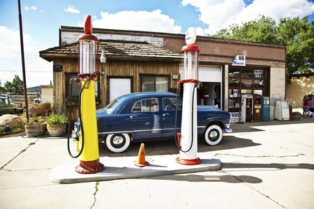 historic patrol station at Route 66 with oldtimer in superb condition