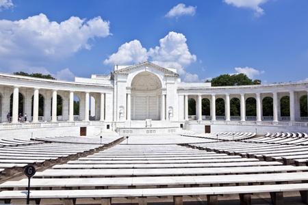tourists in  the Memorial Amphitheater at Arlington National Cemetery