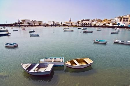 lanzarote: Charco de San Gines, de Laguna bij de stad van Arrecife, de hoofdstad van Lanzarote, Canarische Eilanden