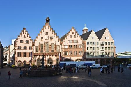 roemerberg: famous Roemerberg in Frankfurt, the former historic city center Editorial
