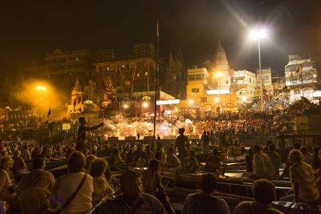 VARANASI, INDIA- MAY 4: Crowds of people worshiping bathing in the sacred River Ganges by night at Varanasi on May 4,2012 in Varanasi, India.