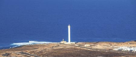 beautiful lighthouse of Playa Blanca, Lanzarote Stock Photo