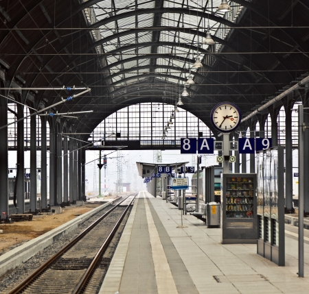 work station: classicistical railway station in Wiesbaden, Germany Editorial