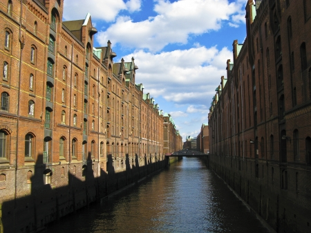 historic Speicherstadt made of old bricks in hamburg photo