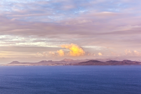 sunrise over the island of Fuerteventura seen from Lanzarote photo