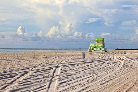 wooden Art Deco Baywatch Huts at the beautiful beach photo