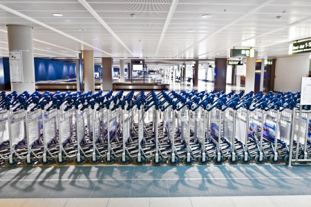 baggage carts in the airport