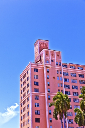 MIAMI BEACH, USA - AUGUST 02: midday view at Washington Avenue on August 02,2010 in Miami Beach, Florida. Art Deco architecture in South Beach is one of the main tourist attractions in Miami.